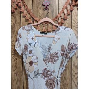 Final Touch Floral Wrap Dress